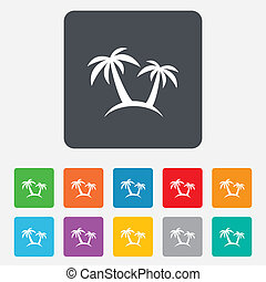 Palm Tree sign icon Travel trip symbol Rounded squares 11...