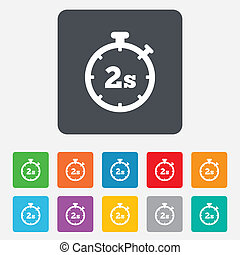 Timer 2s sign icon. Stopwatch symbol. - Timer 2 seconds sign...