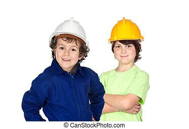 Trabalhadores, construção, par, dois, jovem