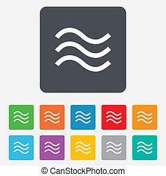Water waves sign icon Flood symbol Rounded squares 11...