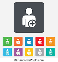 Add user sign icon Add friend symbol Rounded squares 11...