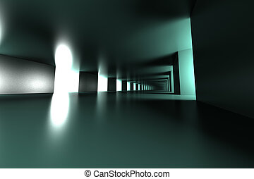 Hallway - A modern hallway interior. 3d illustration.