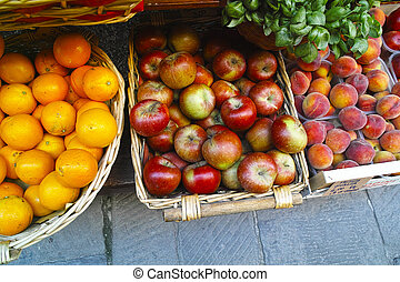 colored fruit - colored fuit in a eurpean market
