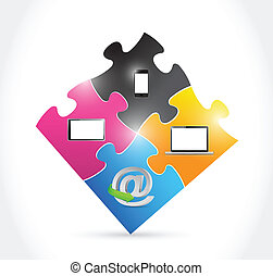 technology electronics and puzzle pieces illustration design...