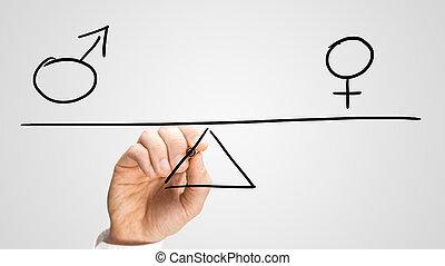 igualdad, entre, sexos