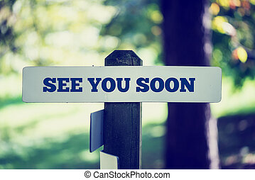 See you soon - Old rustic signpost with the phrase See you...