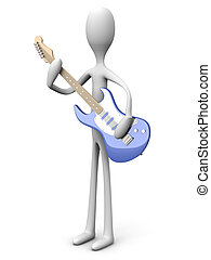 Cartoon character with a guitar - A cartoon guitar with a...