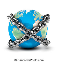 3d Earth bound by chains - 3d render of a globe of the Earth...