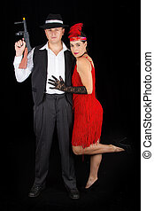 Dangerous bonny and clyde gangster with 1920 style clothes...