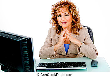 Lady working in her office on laptop