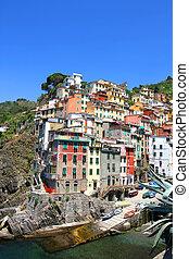 Riomaggiore in the famous region of Cinque Terre in Italy,...