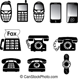 Phones - Collection of old and new phone icons