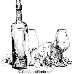 Wine with cheese  and grapes. Hand drawn illustration
