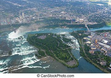 Niagara Falls in overcast day - Flying above Niagara Falls...