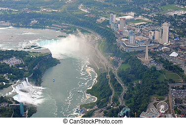 Niagara Falls in overcast day - Flying above Niagara Falls...