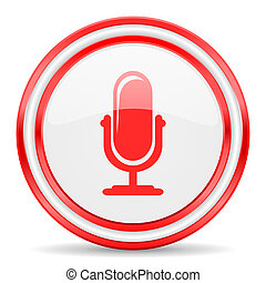 microphone red white glossy web icon - red web button on...