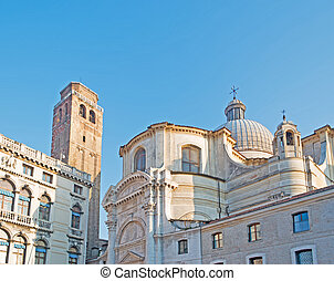 San Geremia church - San Geremia steeple and dome in Venice,...