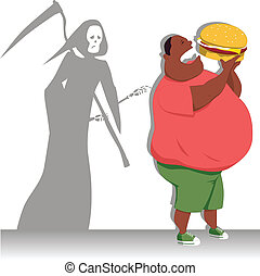 Danger of overeating - Grim Reaper touches an obese man,...