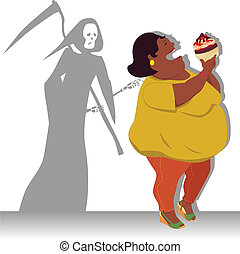 Danger of obesity - Grim Reaper touches shoulder of a happy...