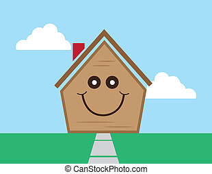 House Face Happy - Cartoon house with smiling happy face