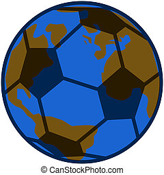 Planet soccer - Concept illustration showing planet Earth...