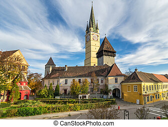 Medieval fortified church of Medias - Medias, Transylvania....
