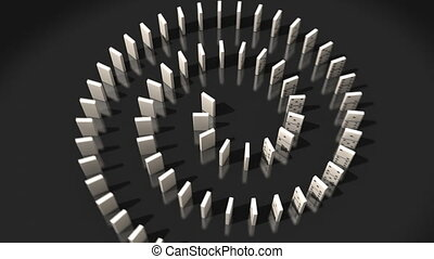 Domino pieces falling in a spiral on black table