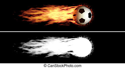 Flying flaming soccer ball - Flying soccer ball with a fiery...