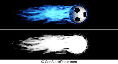 Flying flaming soccer ball - Flying soccer ball with a blue...