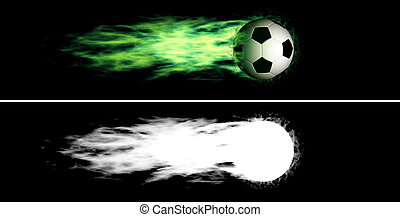 Flying flaming soccer ball - Flying soccer ball with a green...