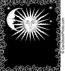 Decorative Sun and Moon Faces