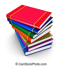 Stack of color hardcover books - Creative abstract science,...