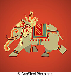 Elephant riding - Indian riding on a decorated elephant...