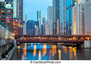 Chicago downtown and River - City of Chicago downtown and...