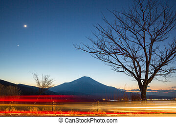 fujisan at dusk - Fuji fujisan at dusk from yamanaka lake at...