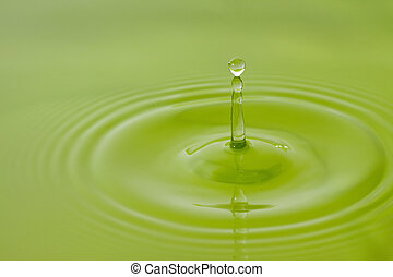 water drop, green background