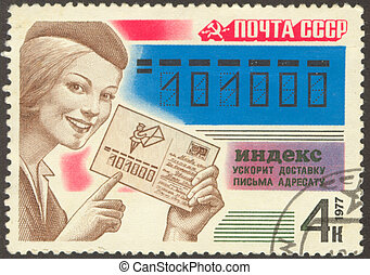 post-office of the Soviet union - The scanned Soviet stamp...