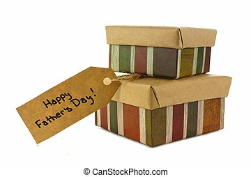 Happy Fathers Day gifts - Fathers Day gifts with tag over a...