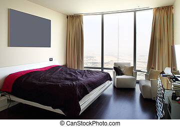 nice interior of european bedroom - bright and brand new...