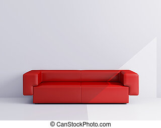 Apartments with a red sofa - High resolution image interior....