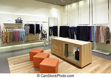 brand new interior of cloth store - luxury and fashionable...