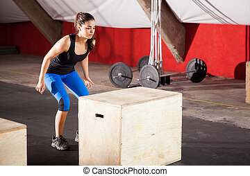 Ready to jump in a crossfit gym - Cute athletic brunette...