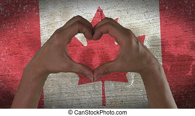 Hands Heart Symbol Canadian Flag - With a stylized Canadian...