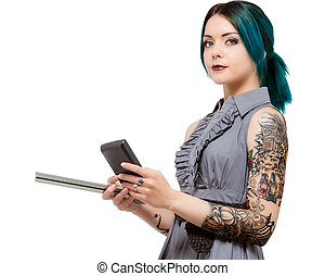 Young female holding scale and calculator - Young modern...
