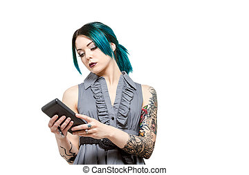 Young professional female with tattoos - Young modern female...