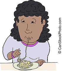 Woman Slurping Spaghetti - Cartoon of happy woman slurping...