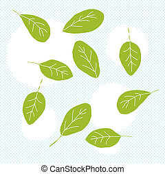 Spinach Leaves Doodle - Doodle of green baby spinach leaves...