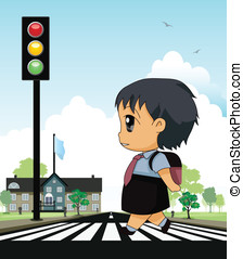 Crosswalk - School children across crosswalk with a...