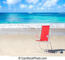 Beach chair by the ocean