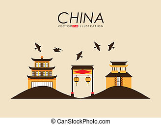 China design over yellow background, vector illustration